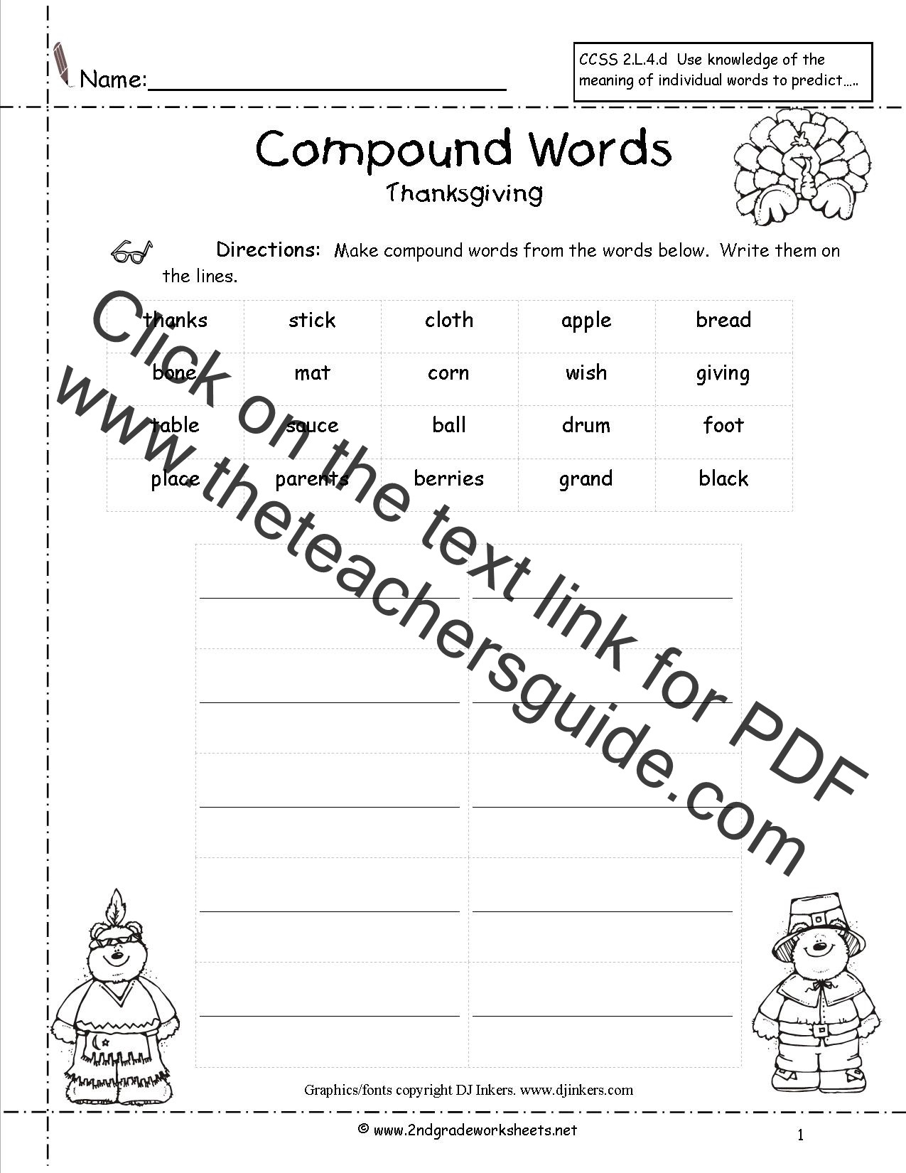 Compound Words Worksheets 1st Grade Thanksgiving Worksheets 2nd Grade
