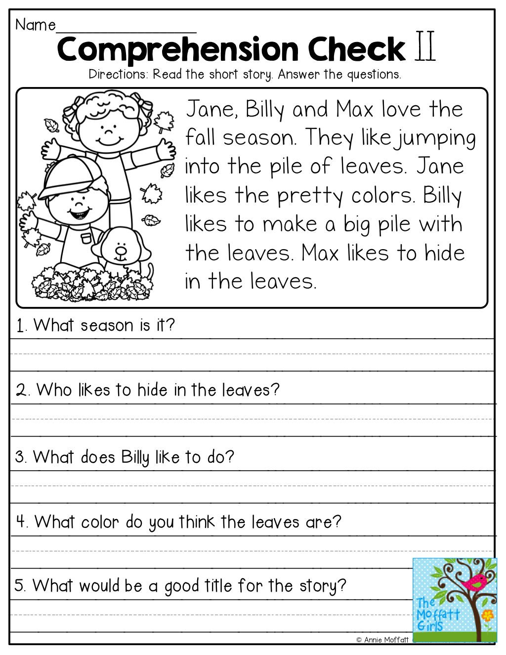 Comprehension Worksheets for First Grade Image Result for October Reading Prehension Worksheets