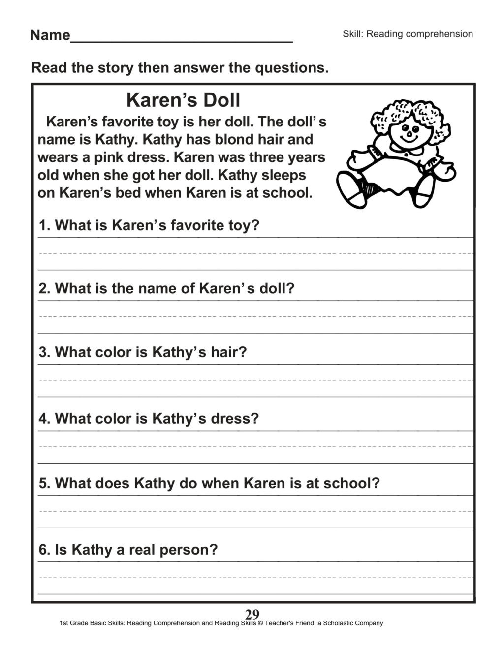 Comprehension Worksheets for First Grade Worksheet 1st Grade Reading Prehension Worksheets Pdf