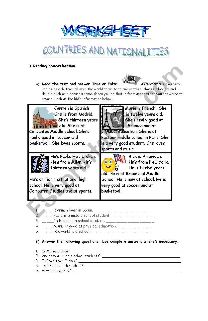 Computer Worksheets for Middle School Countries and Nationalities Worksheet Esl Worksheet by Paula0