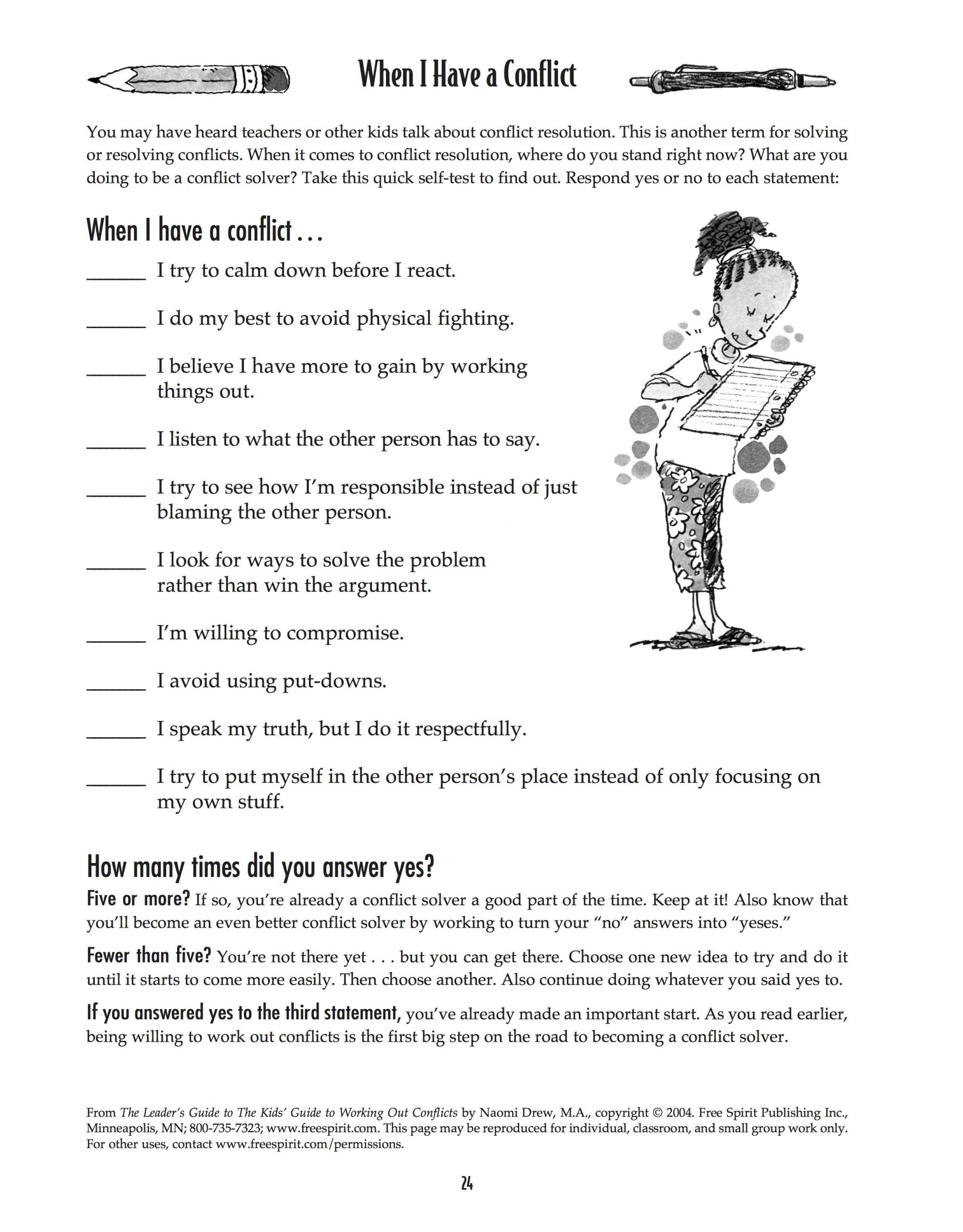 Conflict Worksheets for Middle School Free Printable Worksheet when I Have A Conflict A Quick