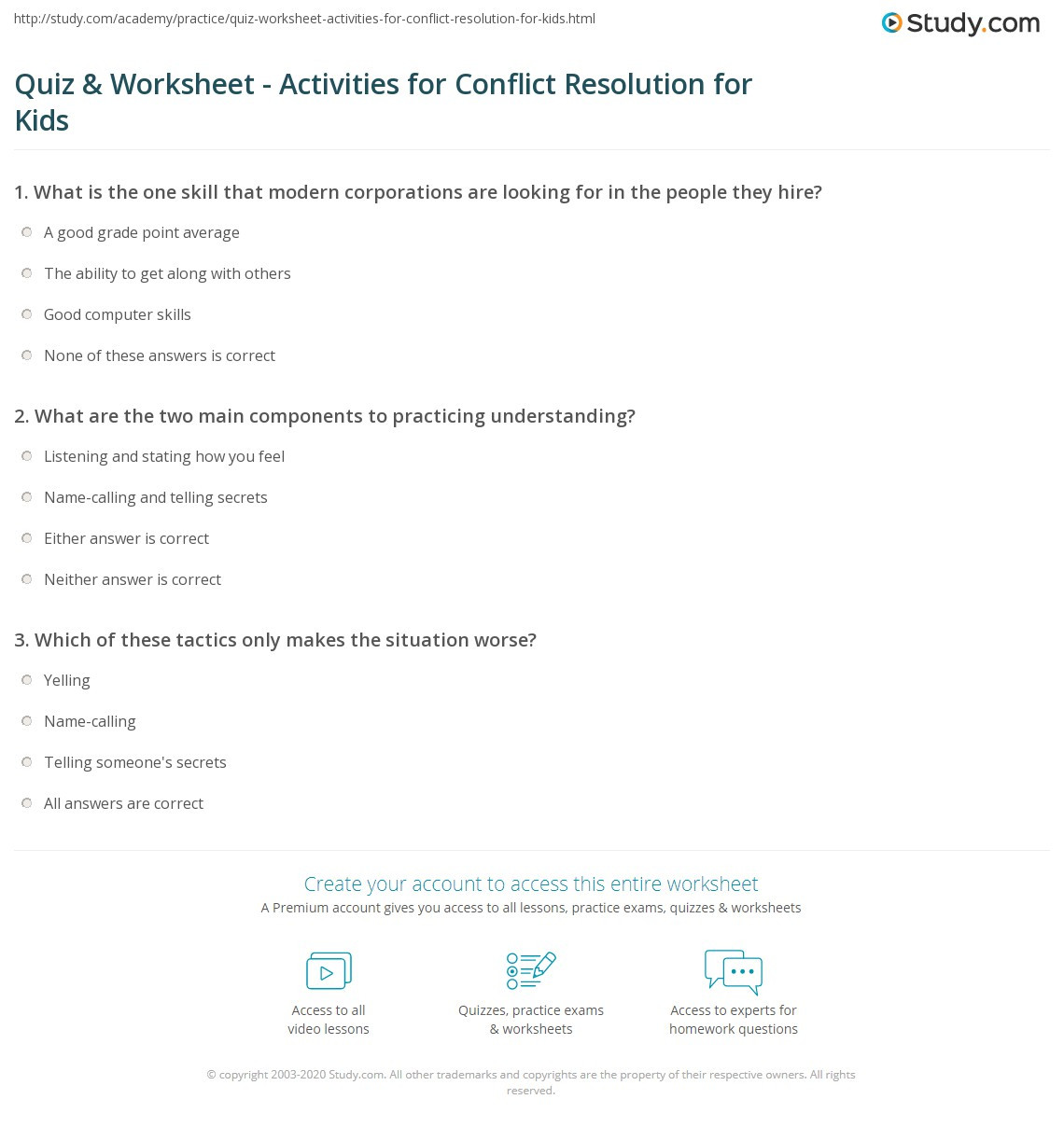 Conflict Worksheets for Middle School Quiz & Worksheet Activities for Conflict Resolution for