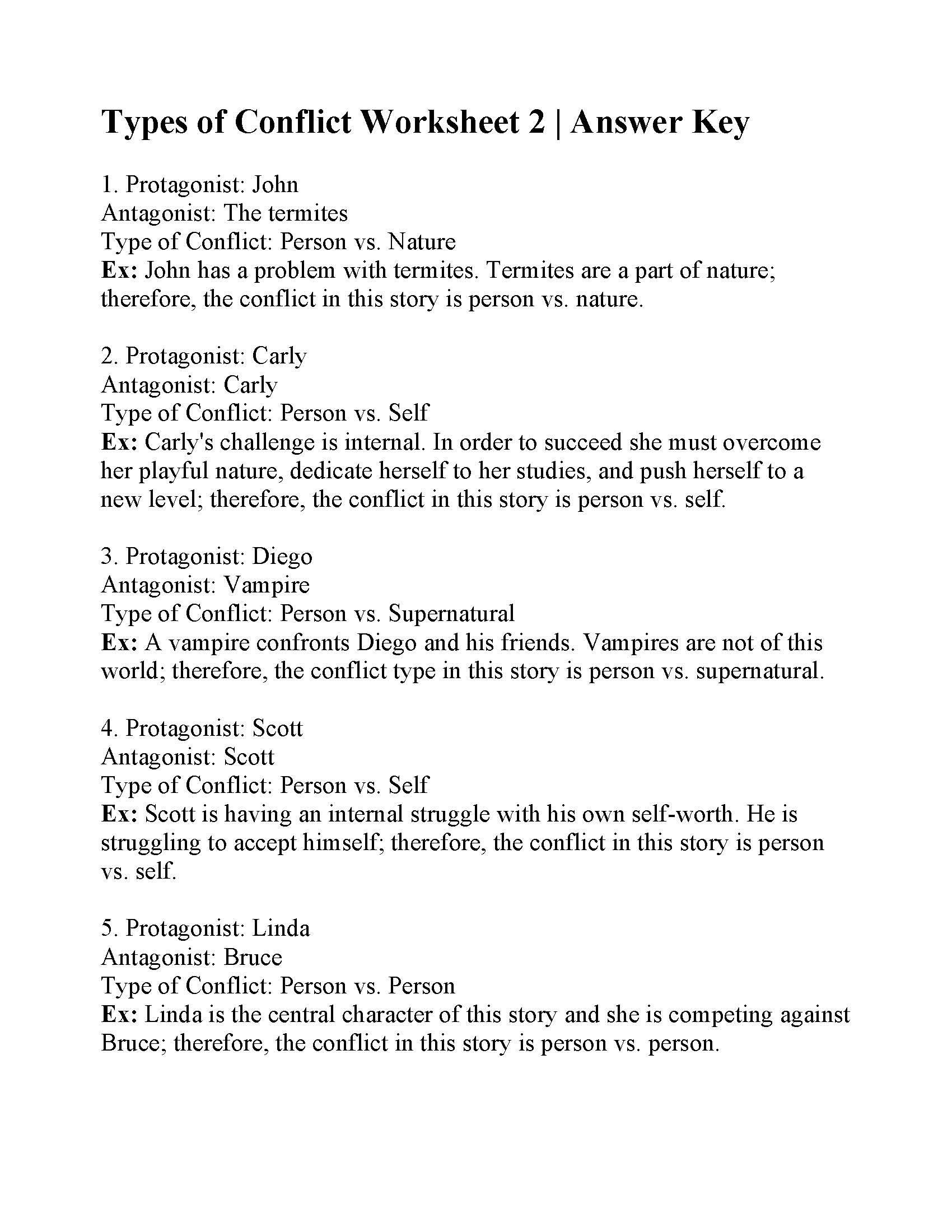Conflict Worksheets for Middle School This is the Answer Key for the Types Of Conflict Worksheet 2