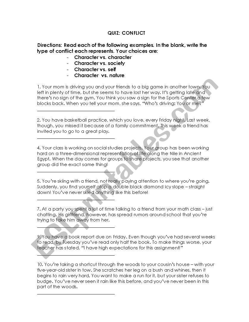 Conflict Worksheets for Middle School Types Of Conflict Esl Worksheet by Cmbobino