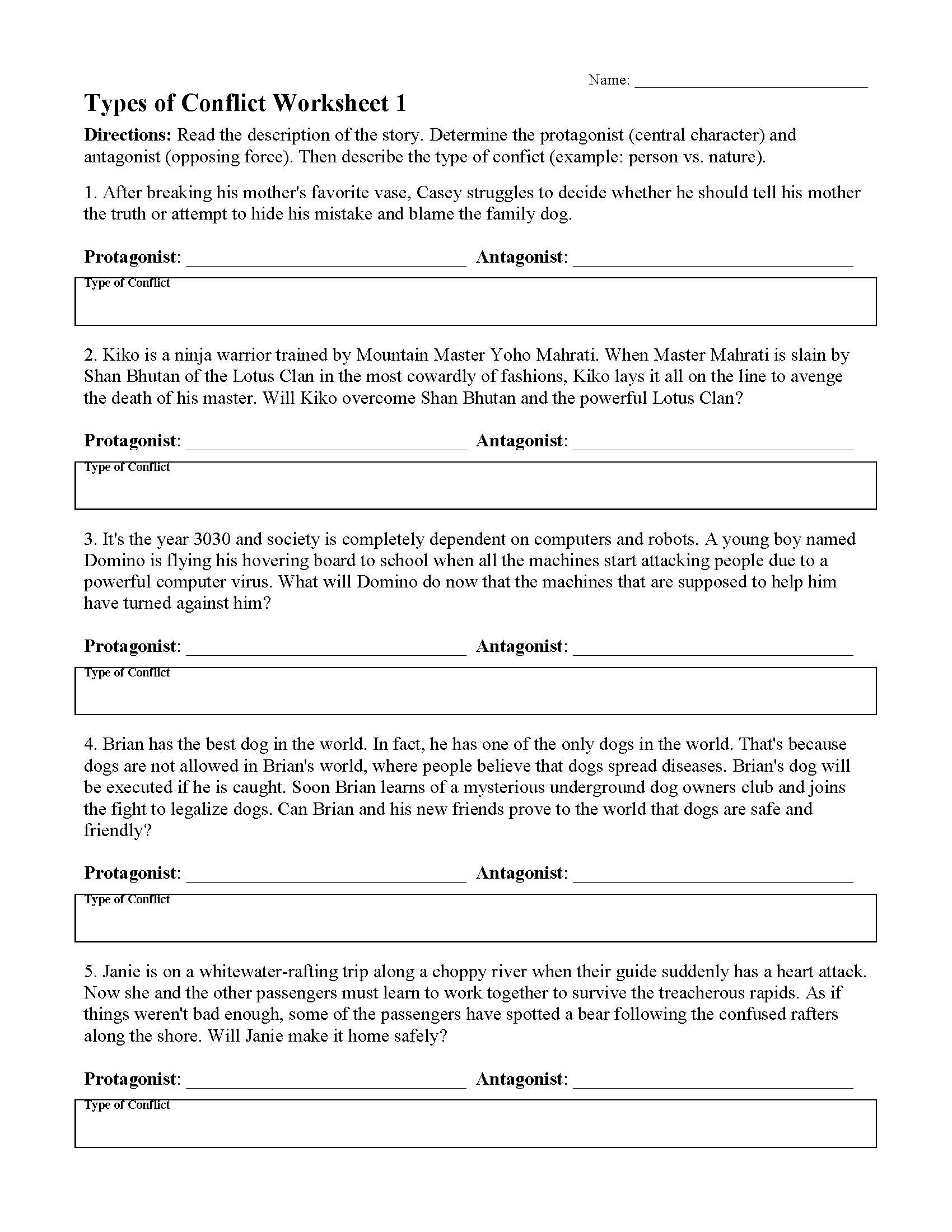 Conflict Worksheets for Middle School Types Of Conflicts In Stories Worksheets & Lessons