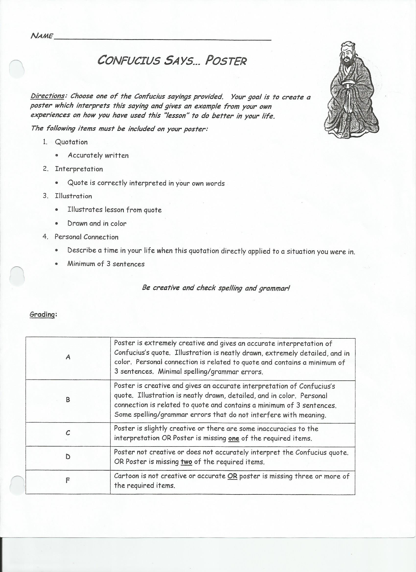 Confucius Worksheet for Middle School Ancient History Worksheet