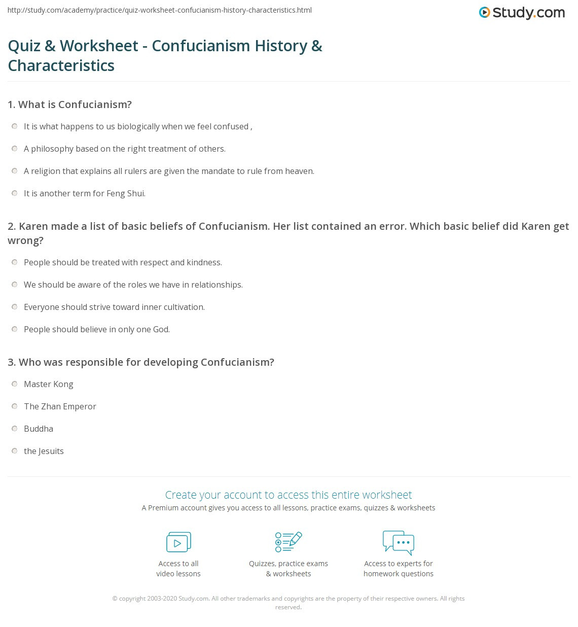 Confucius Worksheet for Middle School Quiz & Worksheet Confucianism History & Characteristics