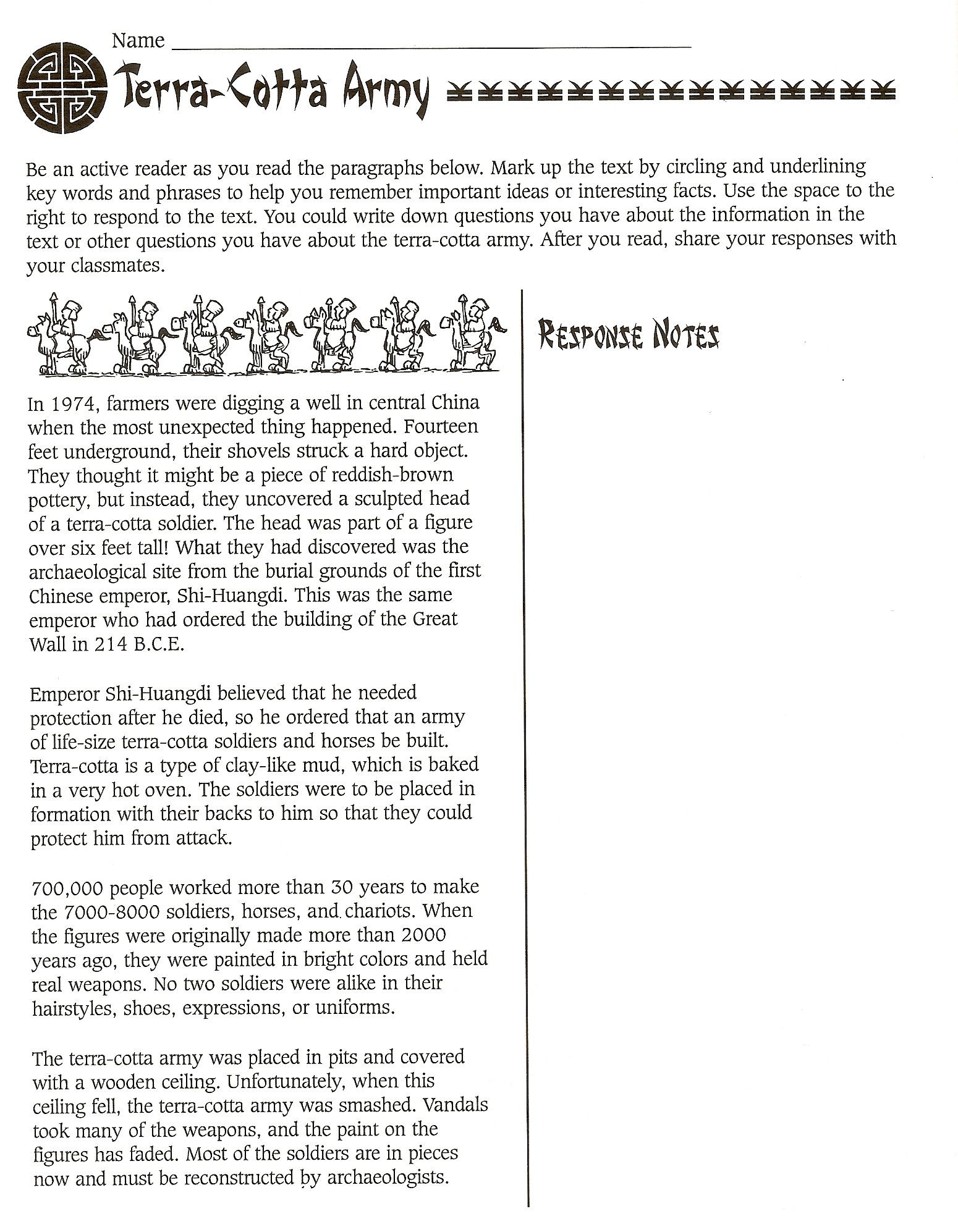 Confucius Worksheet for Middle School Terra Cotta Army Worksheet