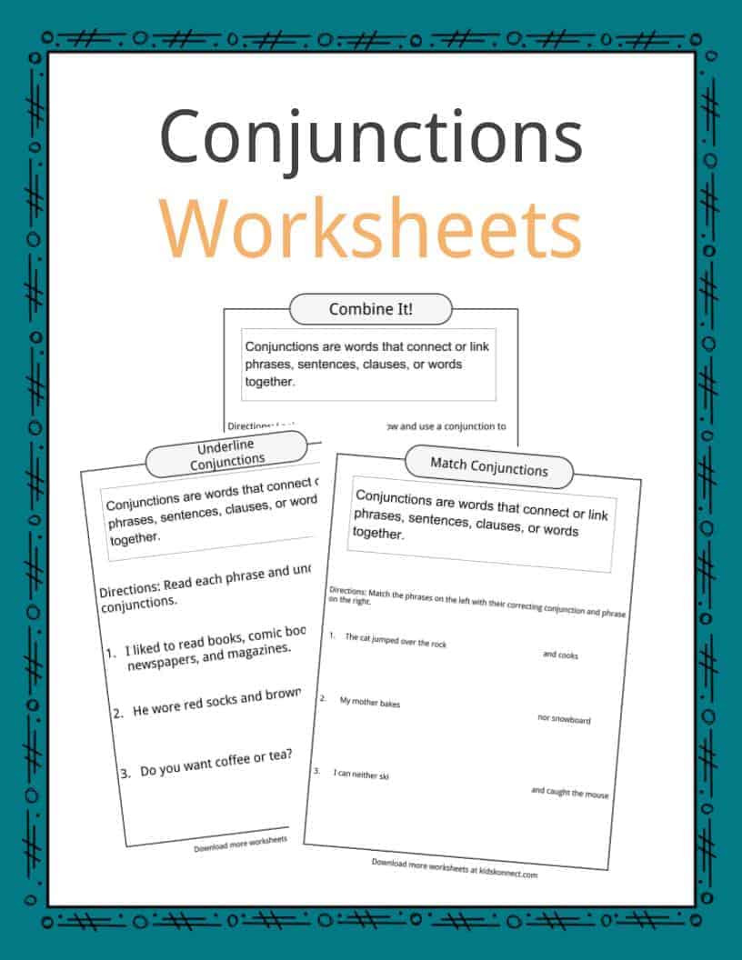 Conjunction Worksheets for Grade 3 Conjunctions Examples Definition & Worksheets for Kids