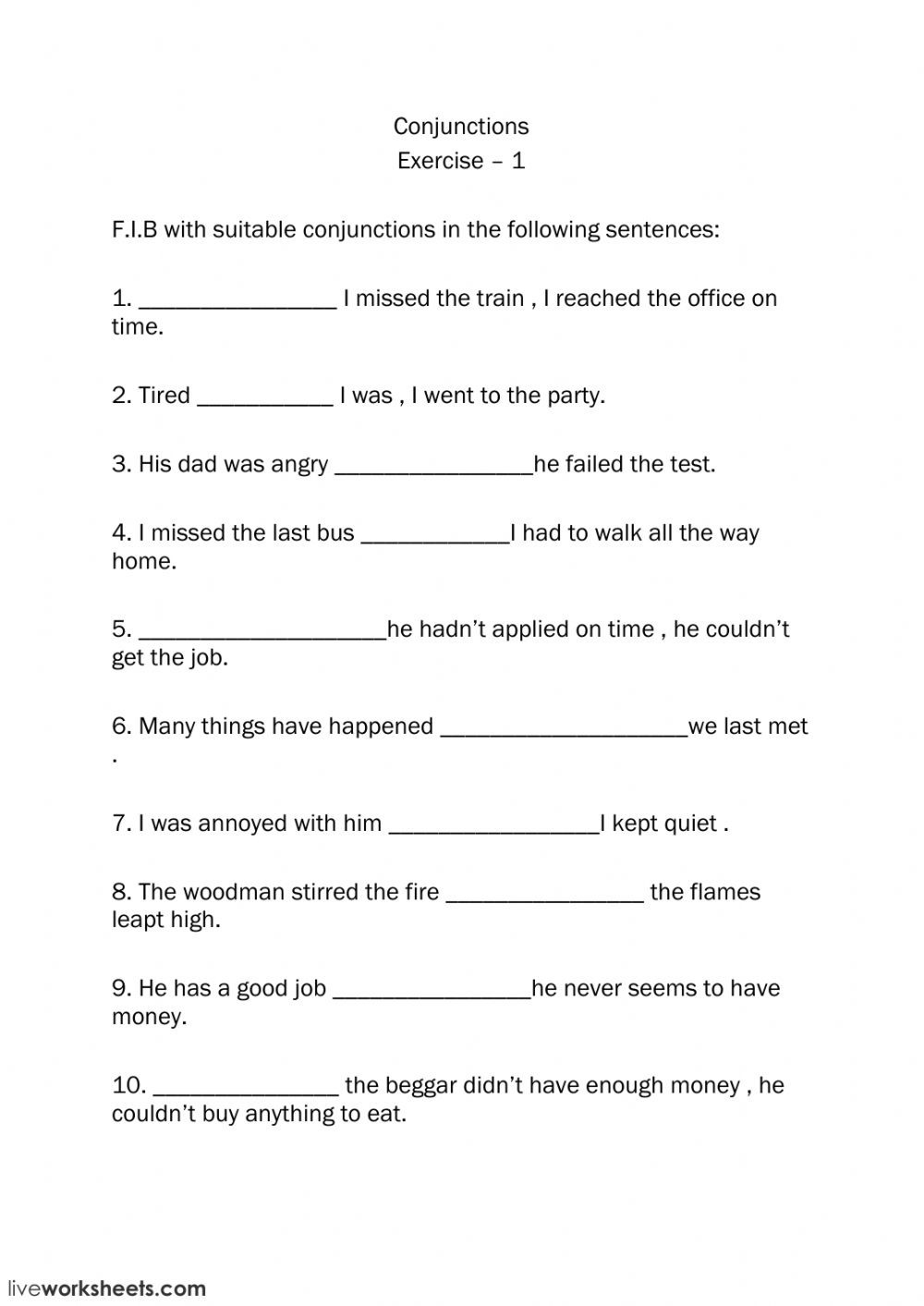 Conjunction Worksheets for Grade 3 Conjunctions Interactive Worksheet
