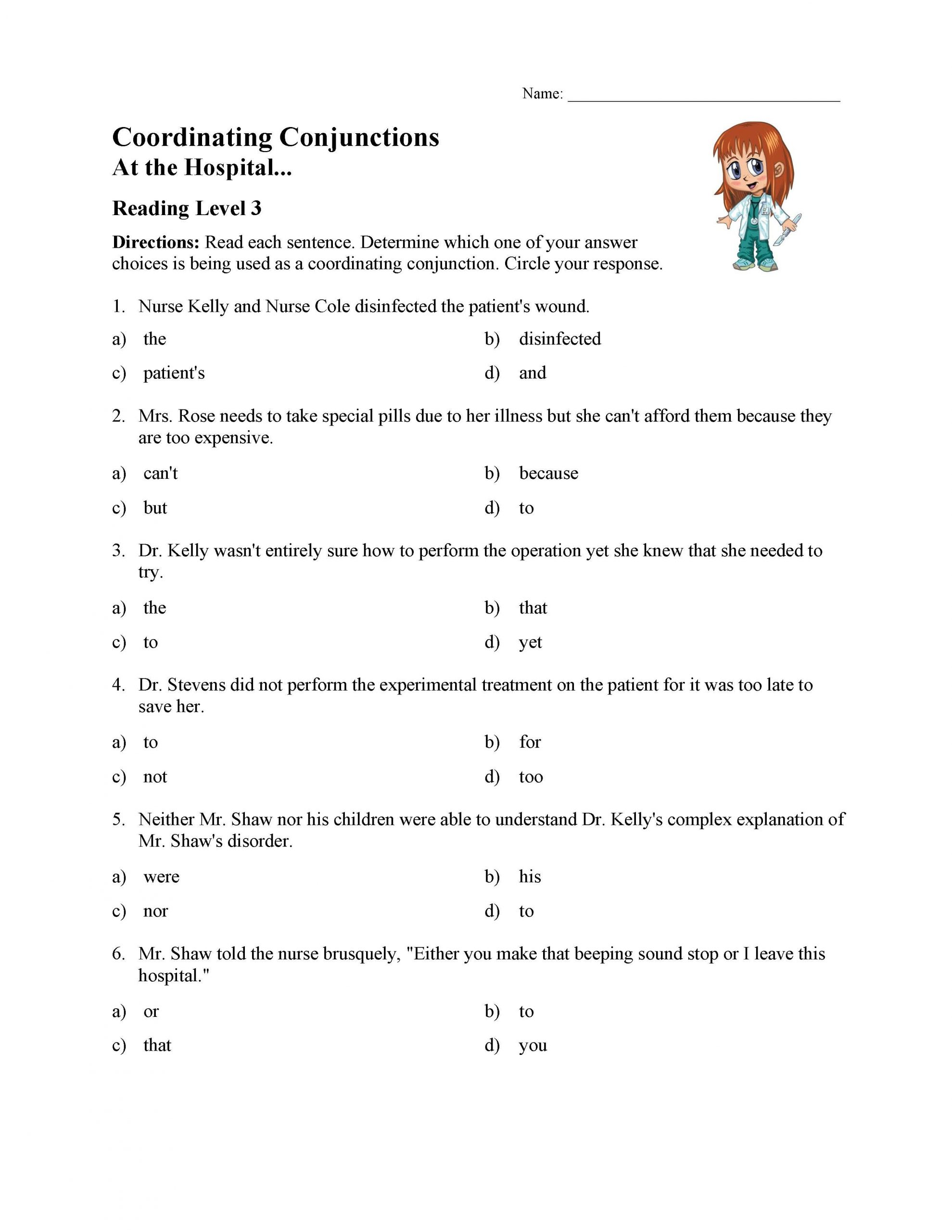 Conjunction Worksheets for Grade 3 Coordinating Conjunctions Worksheet Reading Level 3