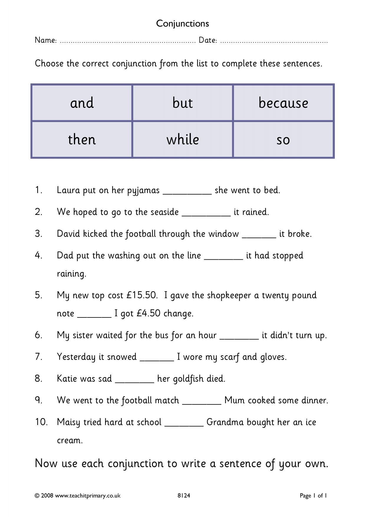 Conjunction Worksheets for Grade 3 Ks2 Conjunctions and Connectives