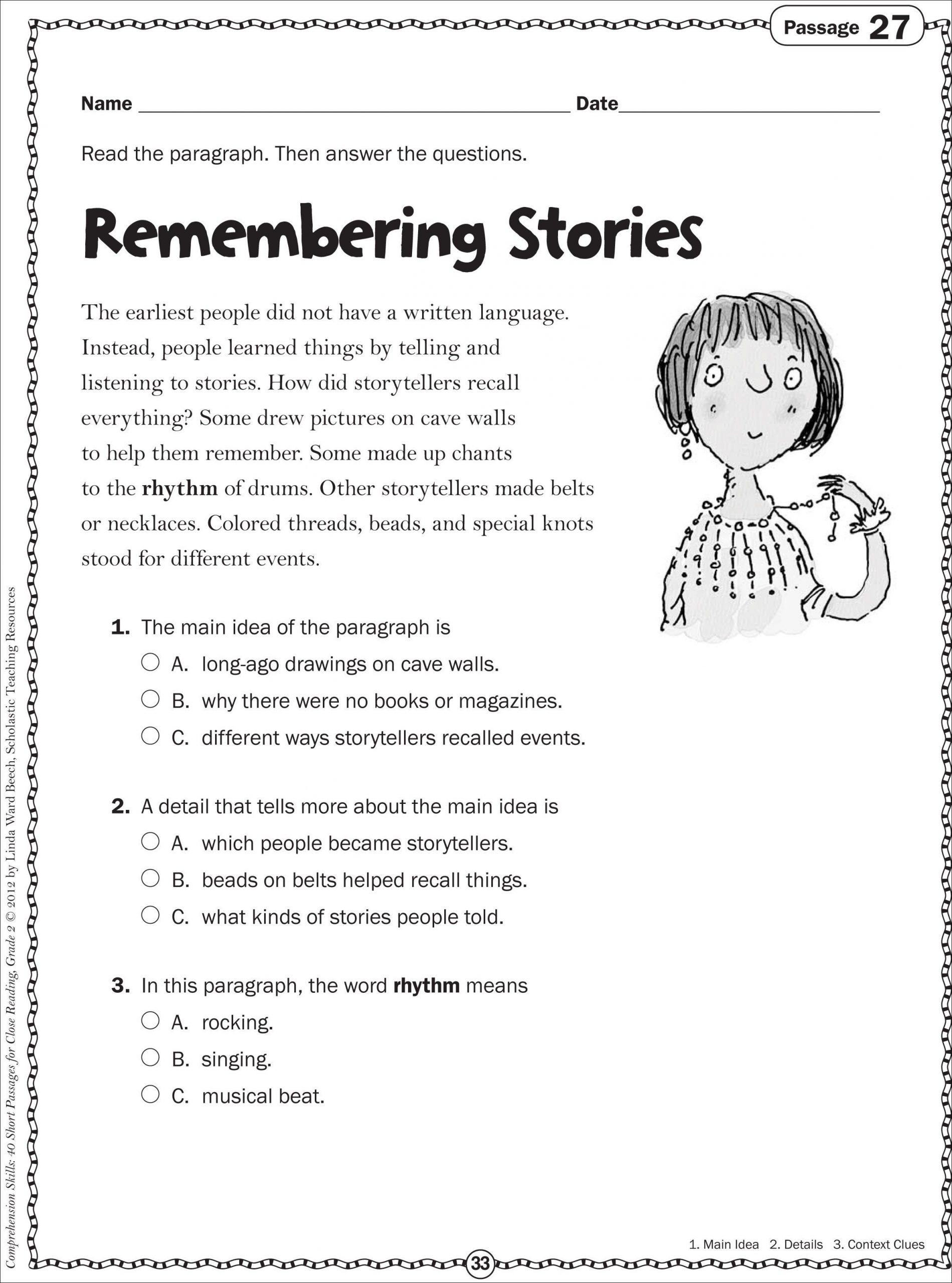 Context Clues Worksheets 1st Grade Grade 2 Reading Passages Memarchoapraga