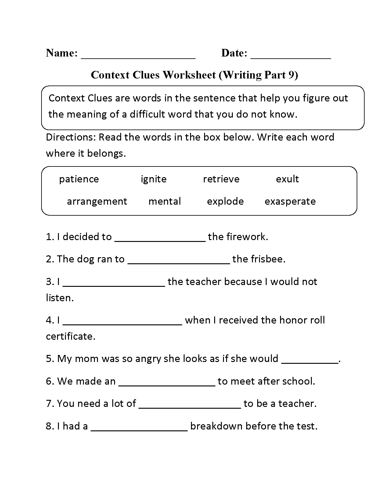 Context Clues Worksheets Grade 5 5th Grade Context Clues Worksheets