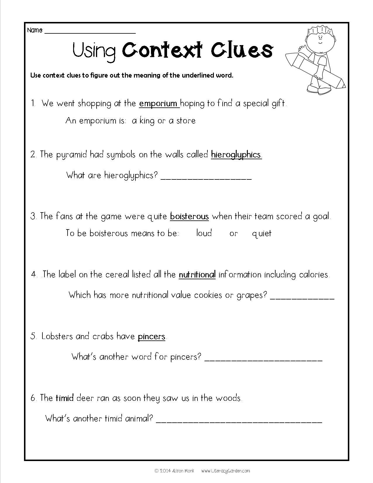Context Clues Worksheets Second Grade Donavan S Word Jar Unit
