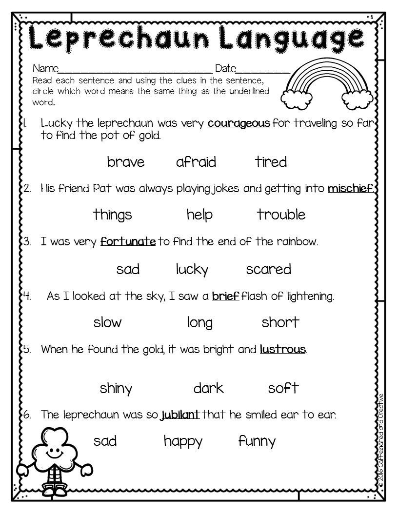 Context Clues Worksheets Second Grade Spring Into Spring