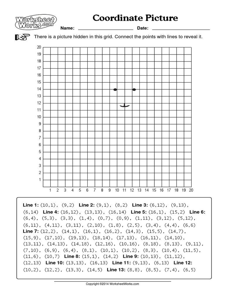 Coordinate Grid Worksheet 5th Grade Coordinate Picture Worksheets Works