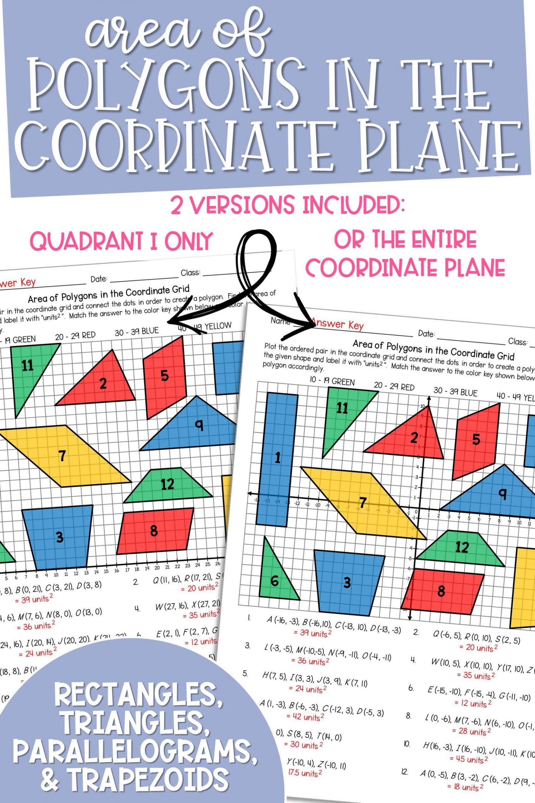 Coordinate Plane Worksheets Middle School area Of Polygons In the Coordinate Plane Coloring Activity