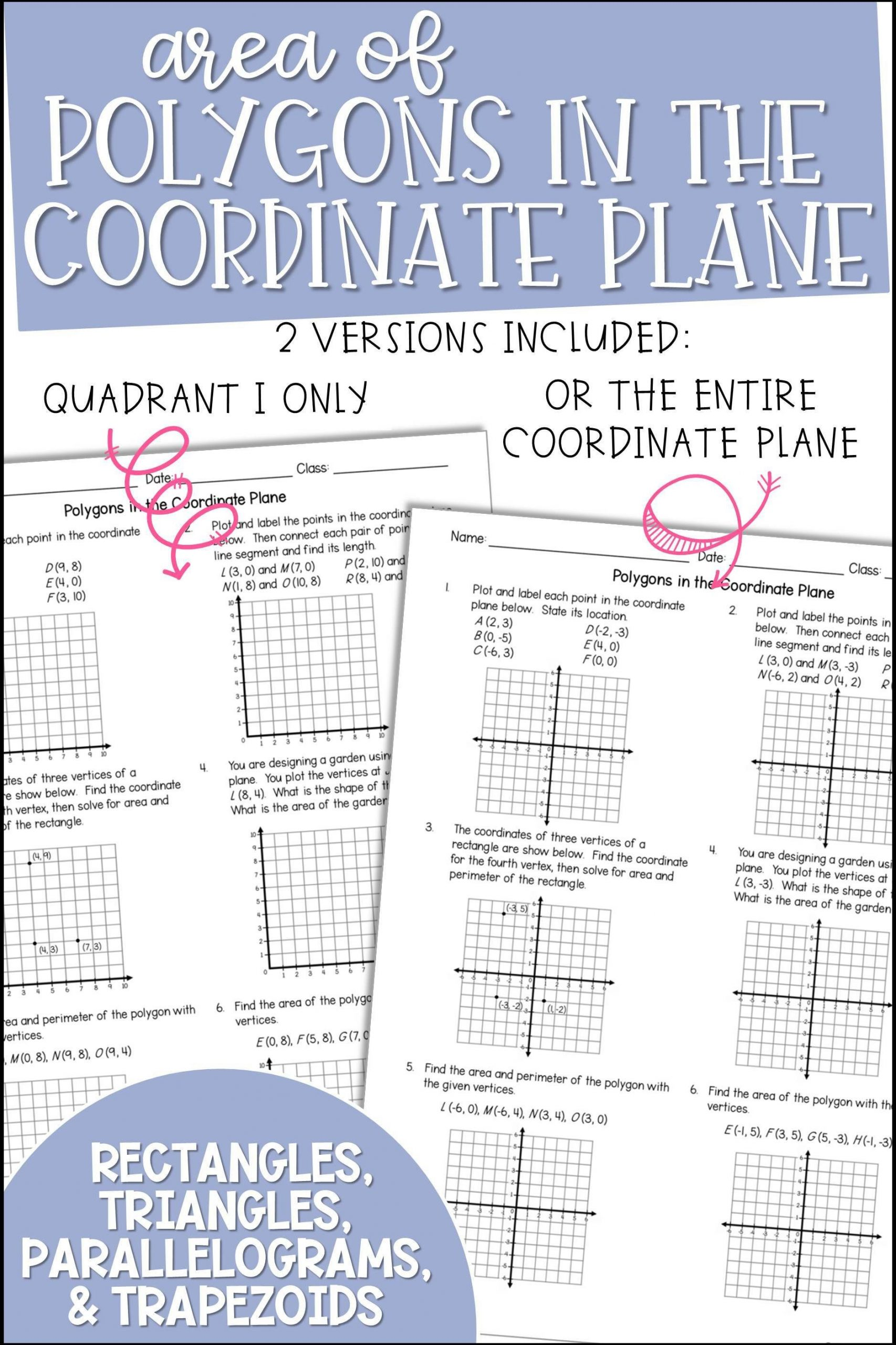 Coordinate Plane Worksheets Middle School area Of Polygons In the Coordinate Plane