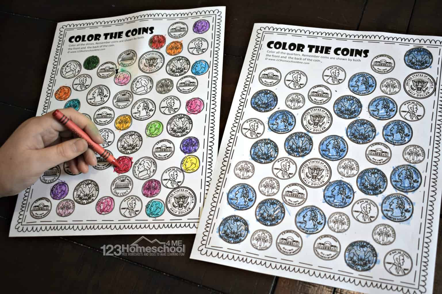 Counting Coins Worksheets 2nd Grade Free Color the Coins Money Worksheets