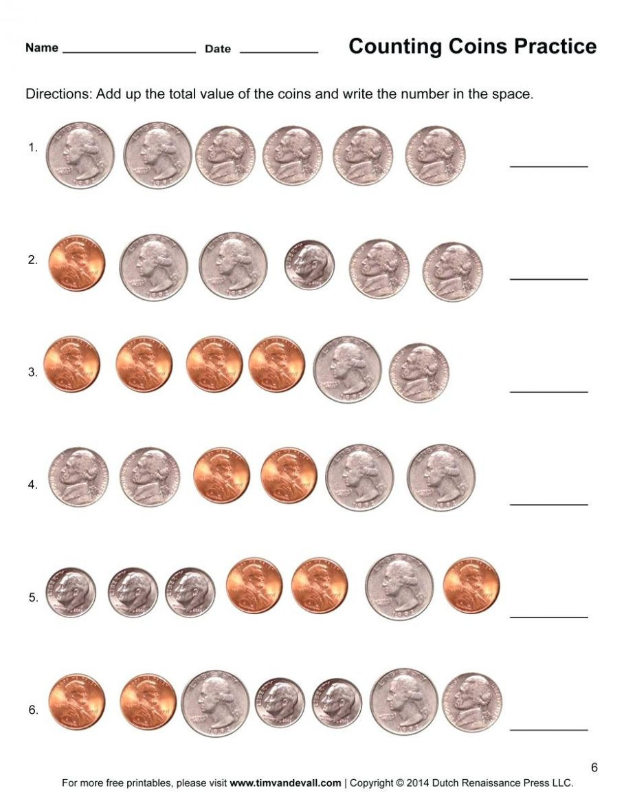Counting Coins Worksheets First Grade Printable Free Math Worksheets First Grade Counting Money