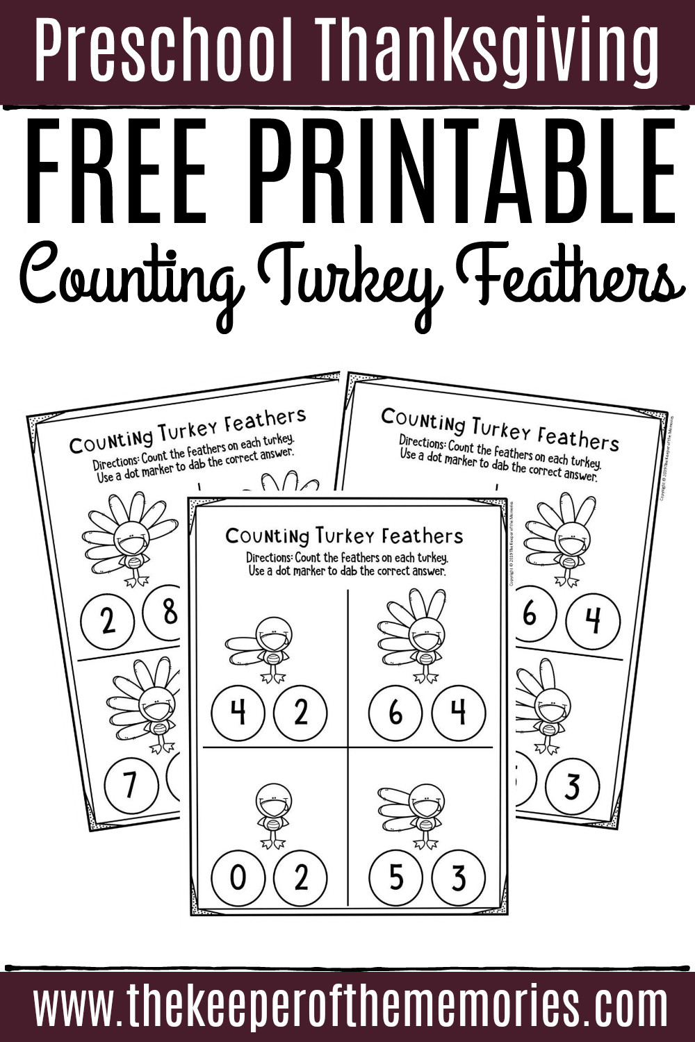 Counting Worksheets Preschool Free Printable Counting Thanksgiving Preschool Worksheets