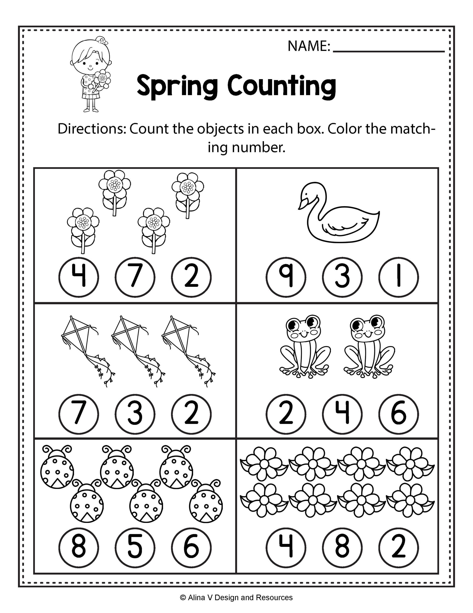 Counting Worksheets Preschool Worksheets Spring Counting Math Worksheets and Write