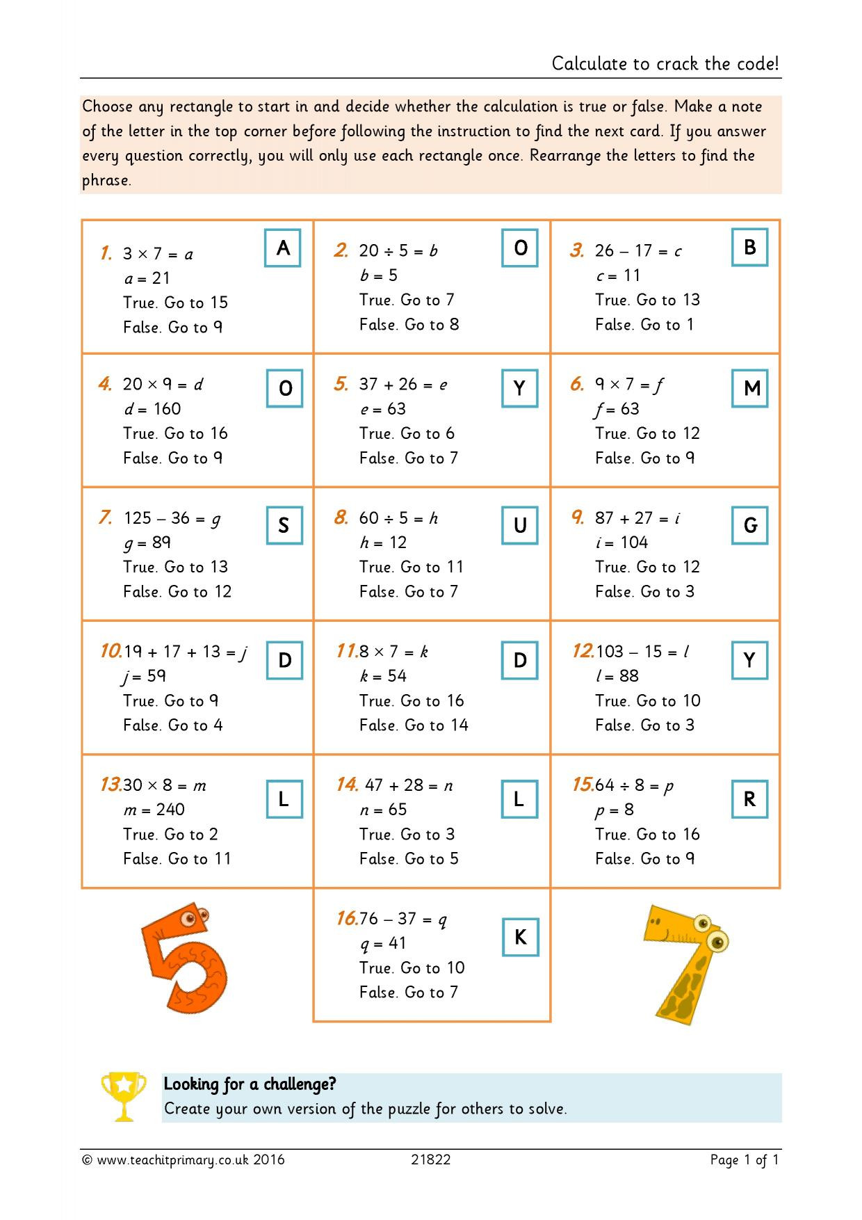 Crack the Code Math Worksheets Calculate to Crack the Code