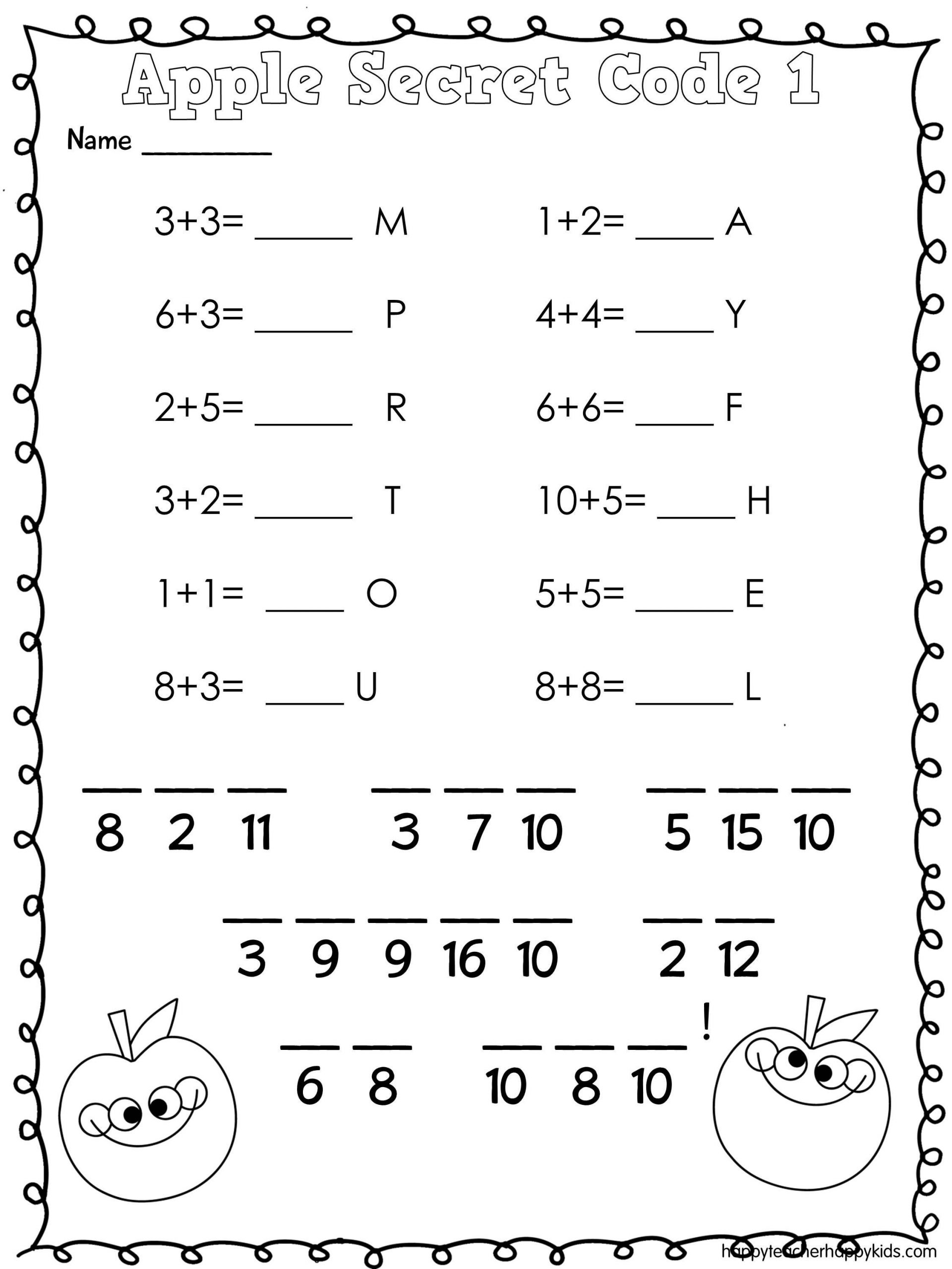 Crack the Code Worksheets Printable Apple Math Secret Code Apples Firstgrade Kindergarten