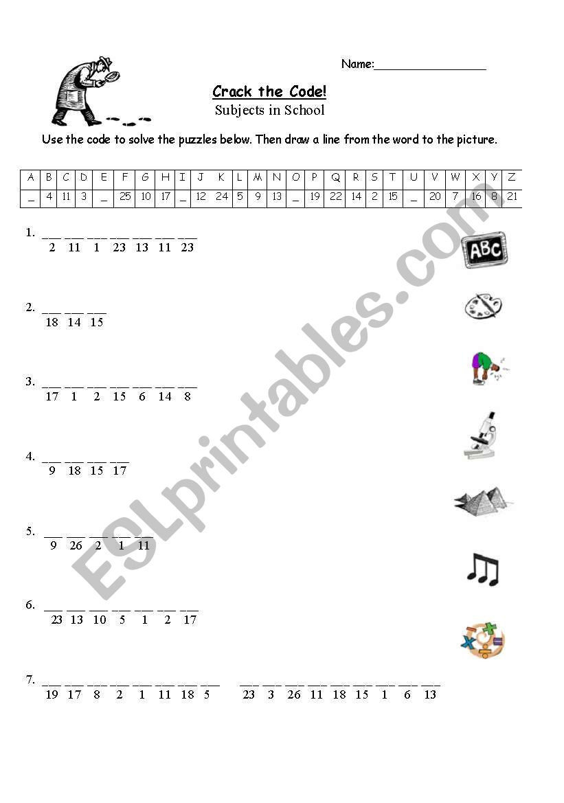 "Crack the Code Worksheets Printable English Worksheets Subjects In School ""crack the Code"" Puzzle"