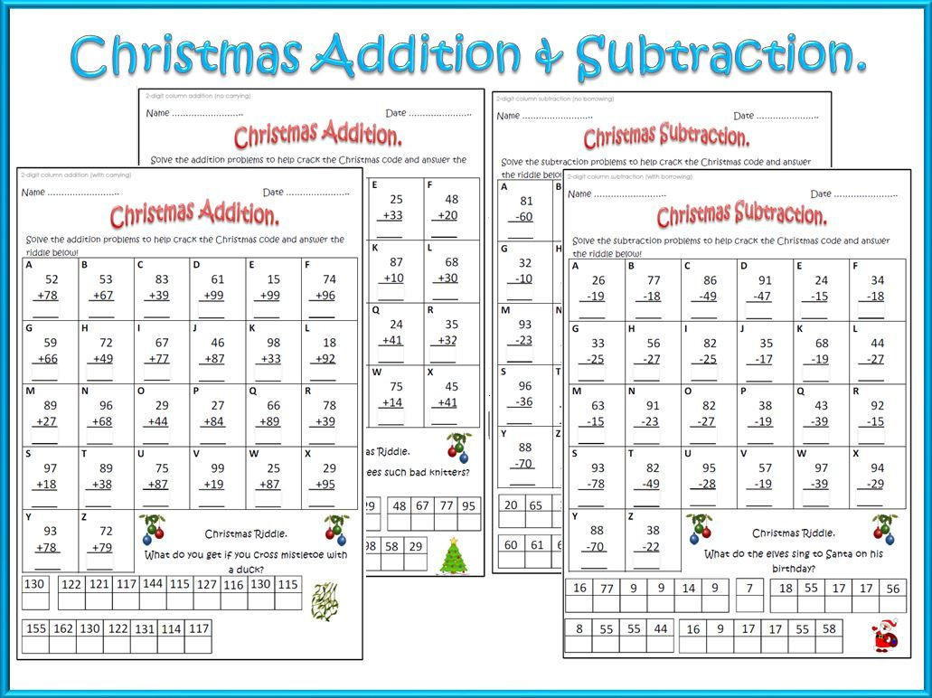 Cracking the Code Math Worksheets Christmas Math Worksheets Addition & Subtraction
