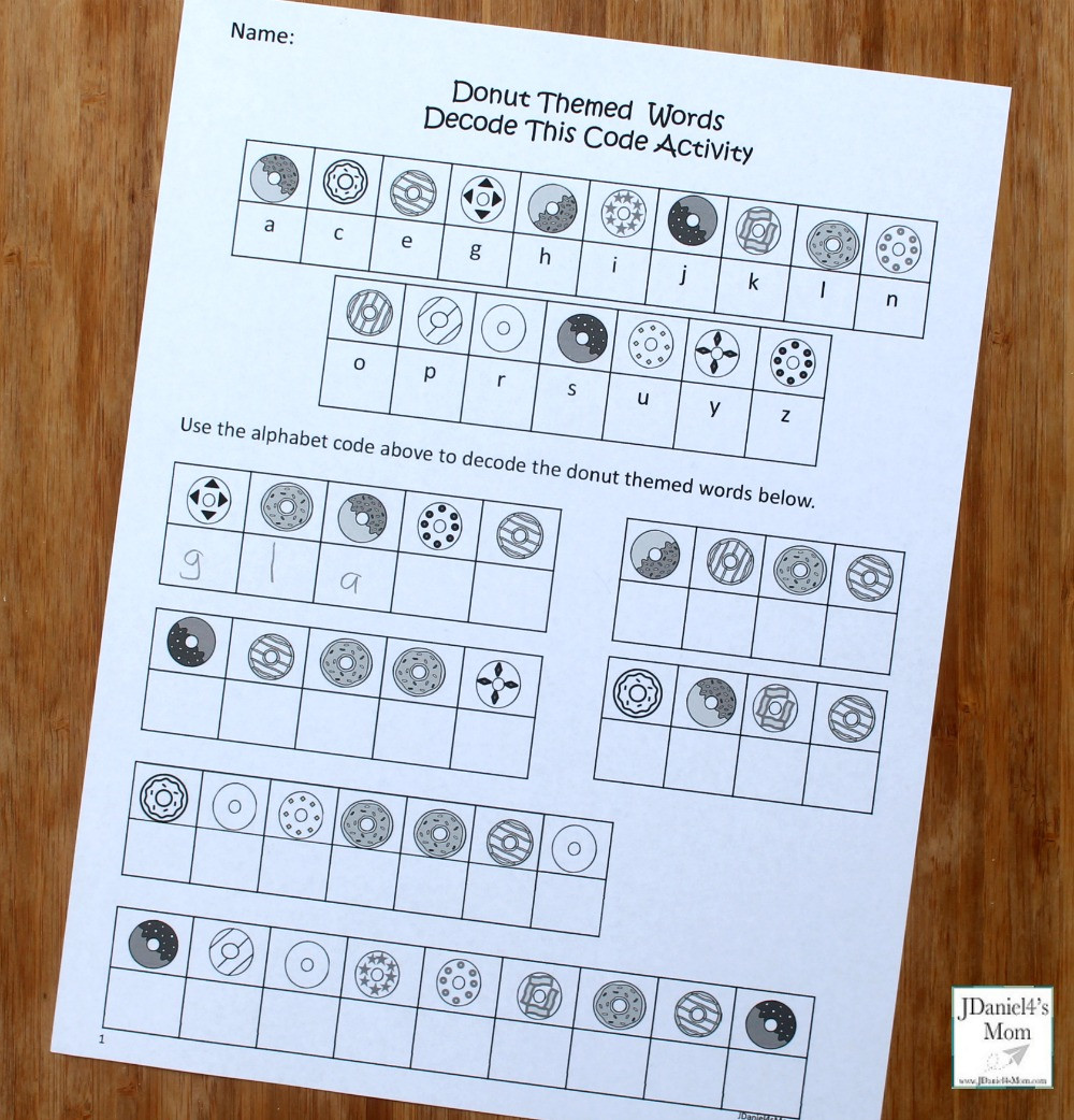Cracking the Code Math Worksheets Donut themed Words Crack the Code Activity