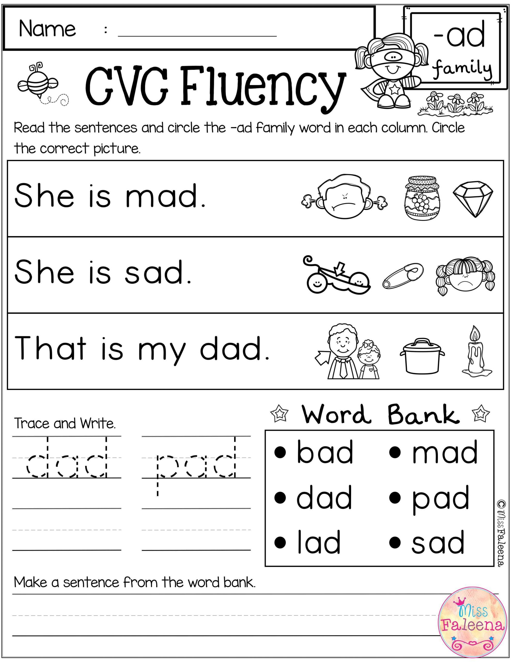 Cvc Worksheets for First Grade Cvc Fluency