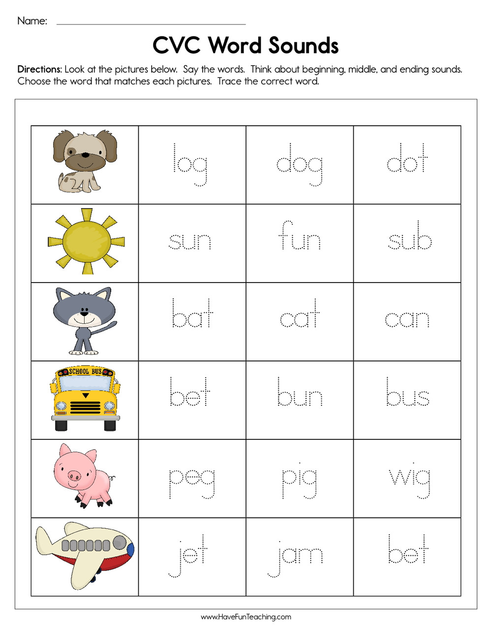 Cvc Worksheets for First Grade Cvc Word sounds Worksheet
