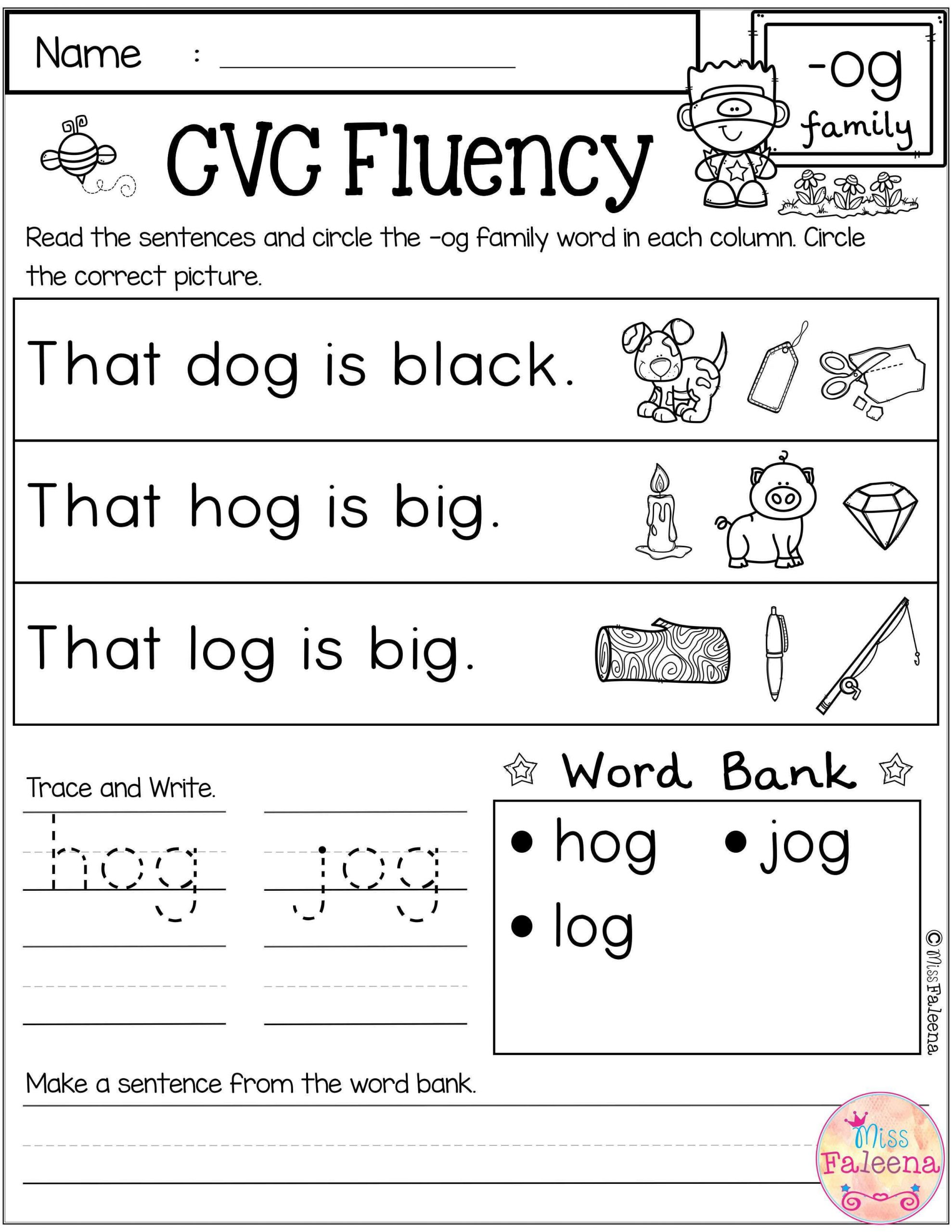 Cvc Worksheets for First Grade Free Cvc Fluency