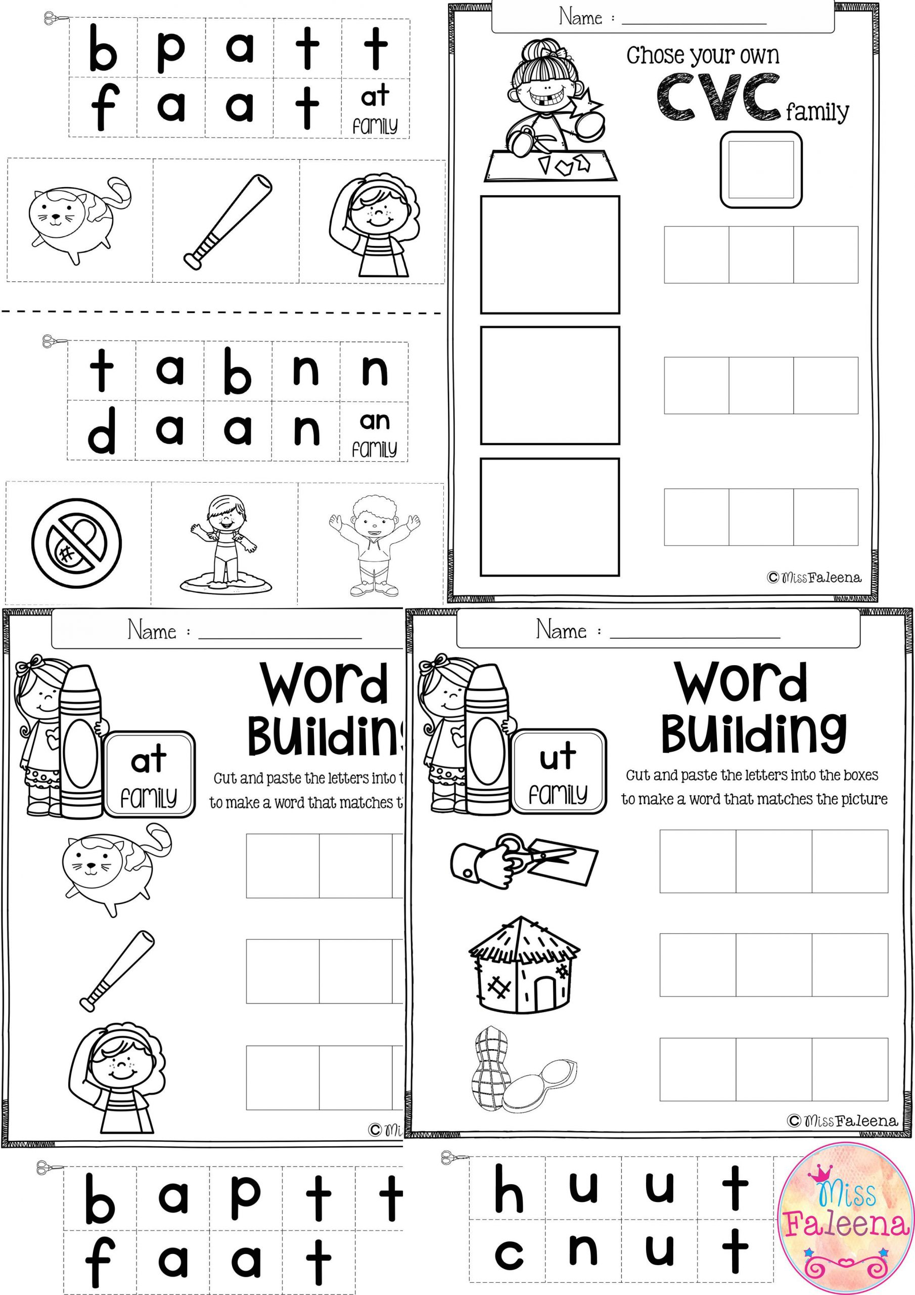 Cvc Worksheets for First Grade Free Cvc Word Building Practice This Product Will Help to