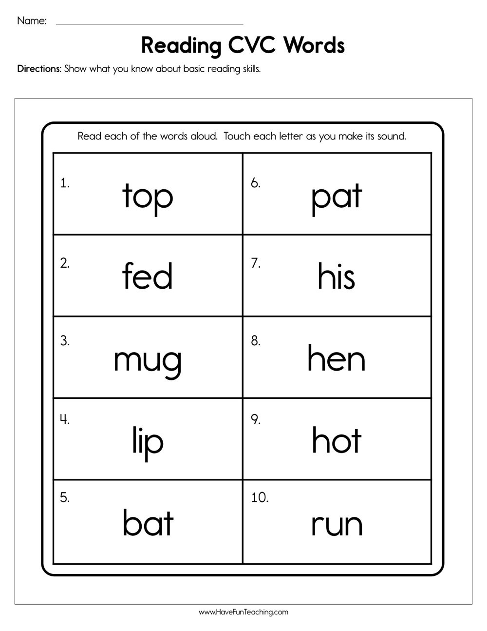 Cvc Worksheets for First Grade Reading Cvc Words Worksheet