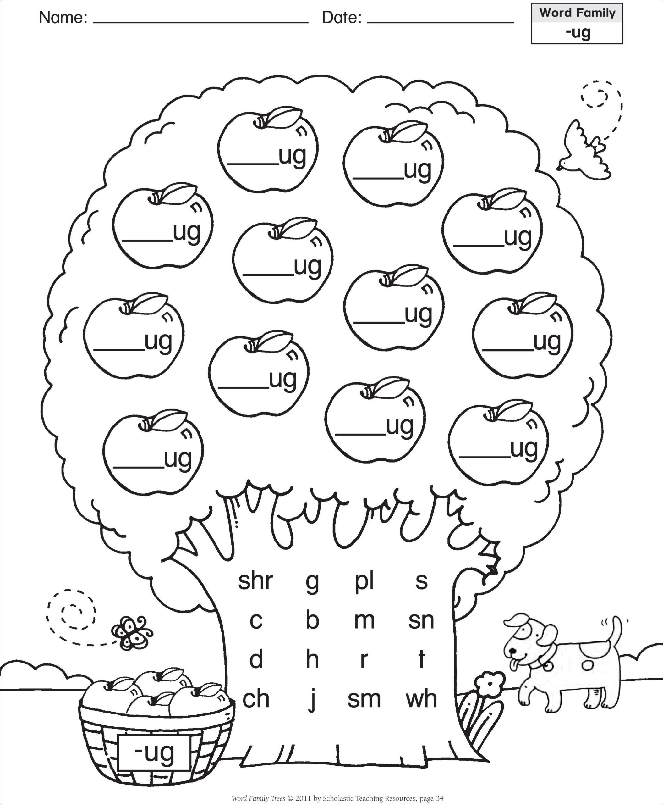 Cvc Worksheets for First Grade Short Vowel Ug Word Family Tree Families Reading Cvc Words