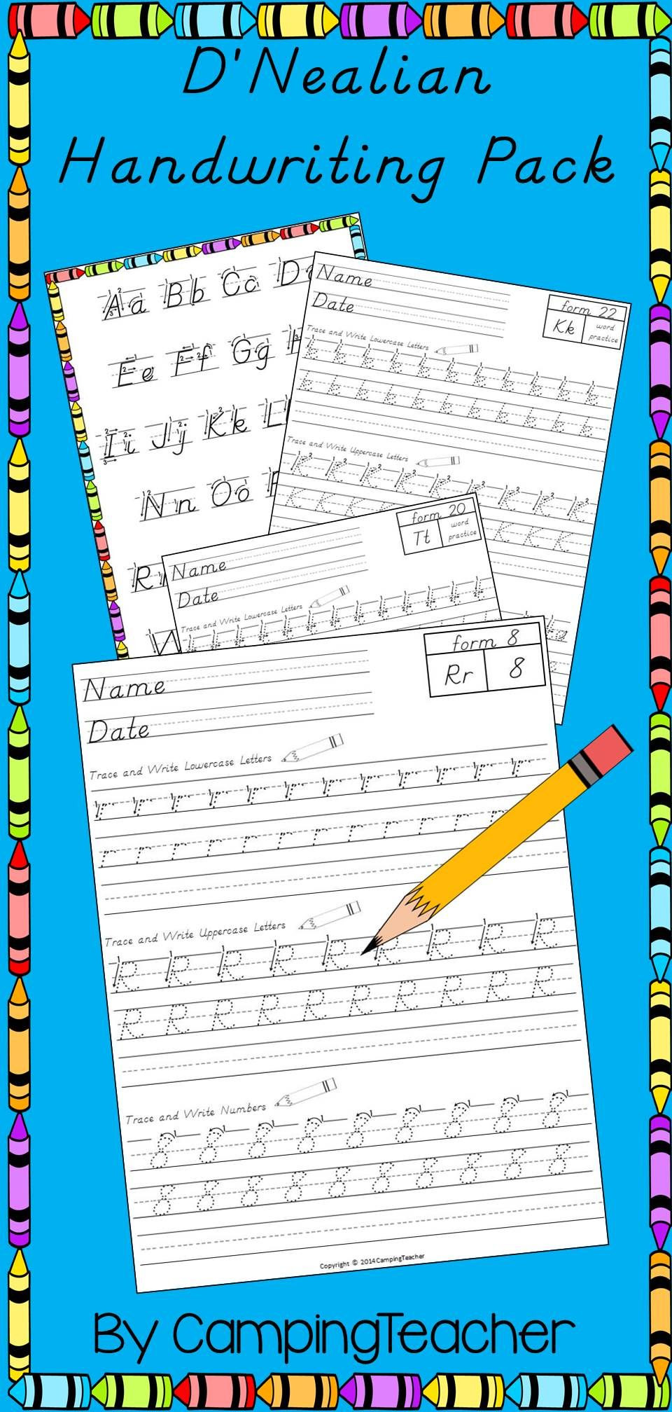 D Nealian Handwriting Worksheets D Nealian Writing Pack Handwriting Practice
