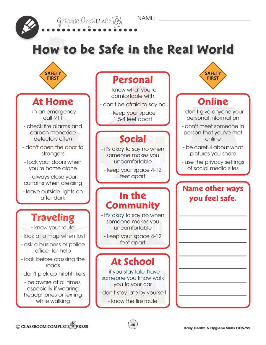Daily Life Skills Worksheets Daily Health & Hygiene Personal Safety Worksheets