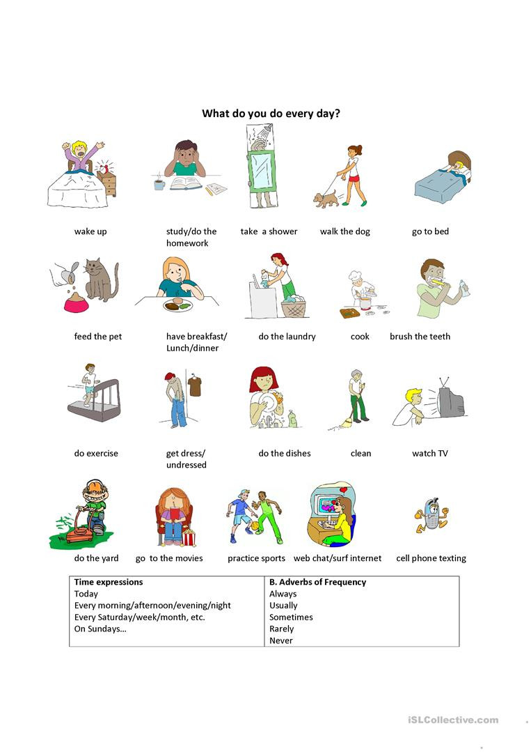 Daily Life Skills Worksheets Daily Life Activities English Esl Worksheets for Distance
