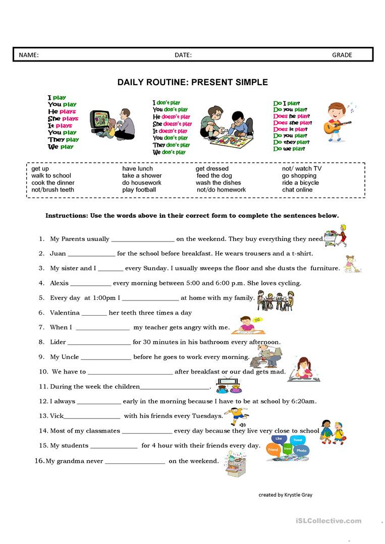 Daily Life Skills Worksheets Daily Routine Present Simple English Esl Worksheets for