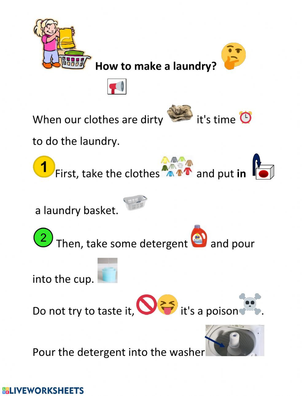 Daily Life Skills Worksheets How to Make A Laundry Interactive Worksheet