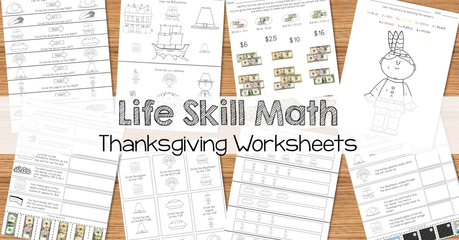 Daily Life Skills Worksheets Math Life Skill Worksheets Thanksgiving themed Breezy