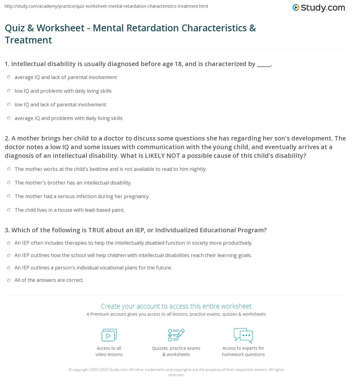 Daily Living Skills Worksheet Quiz & Worksheet Mental Retardation Characteristics