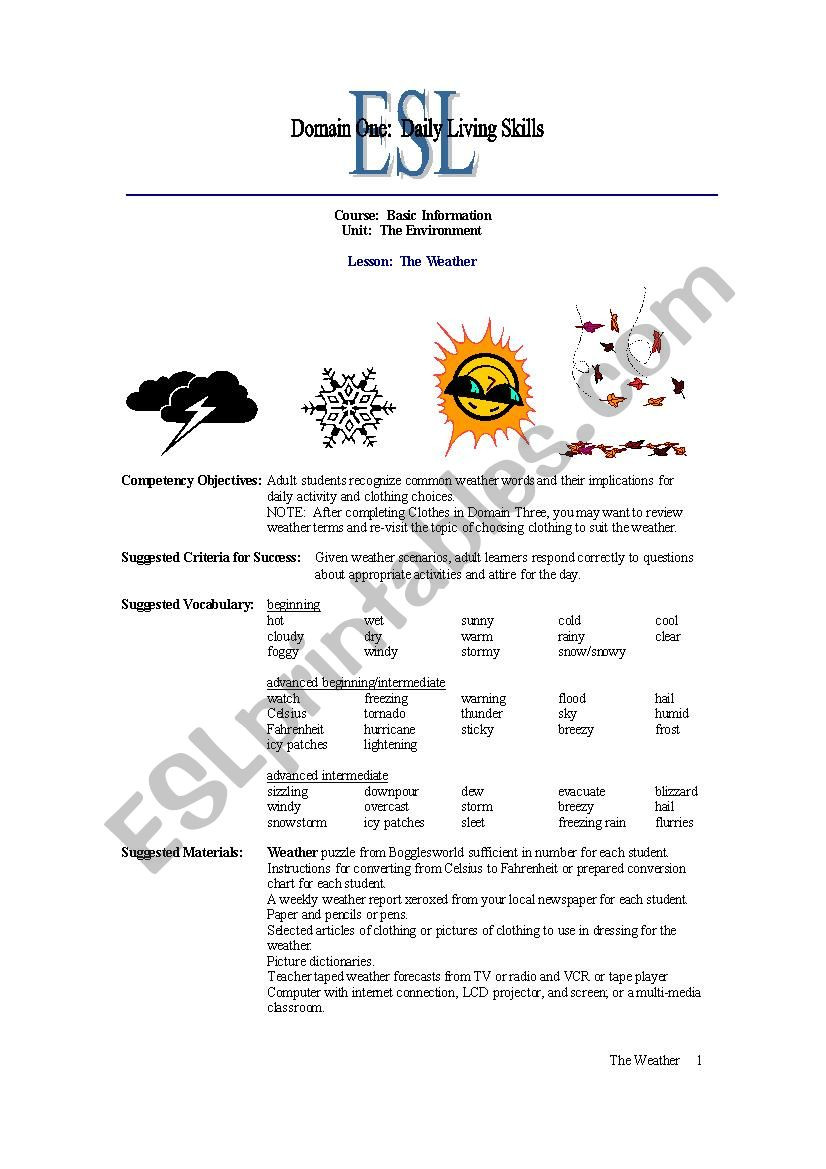 Daily Living Skills Worksheet Weather Environment Esl Worksheet by Bootedfromparty