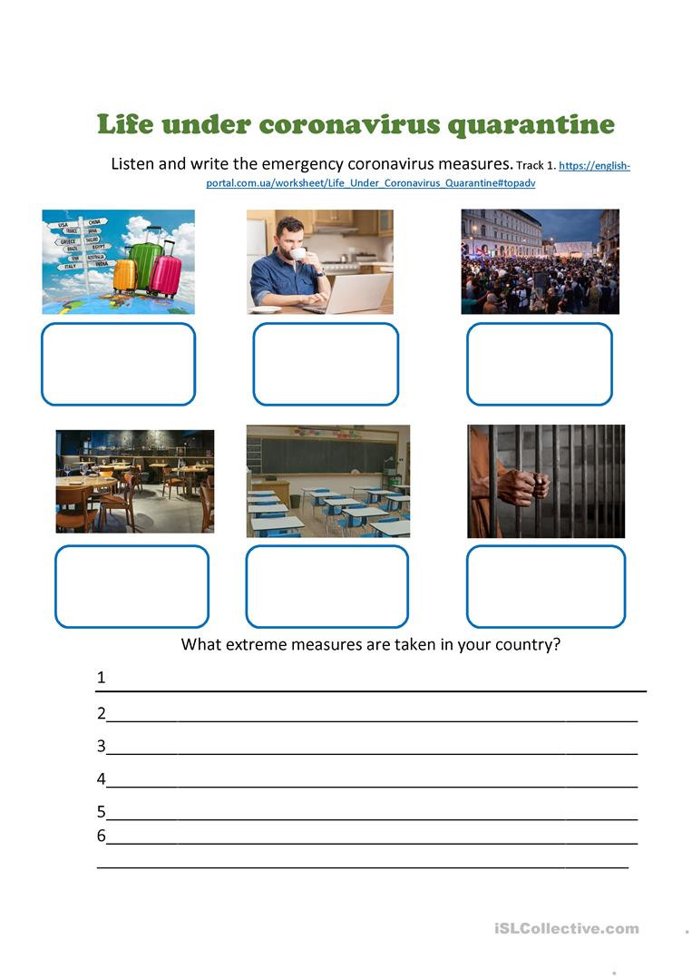 Daily Living Skills Worksheets Life Under Coronavirus Quarantine English Esl Worksheets
