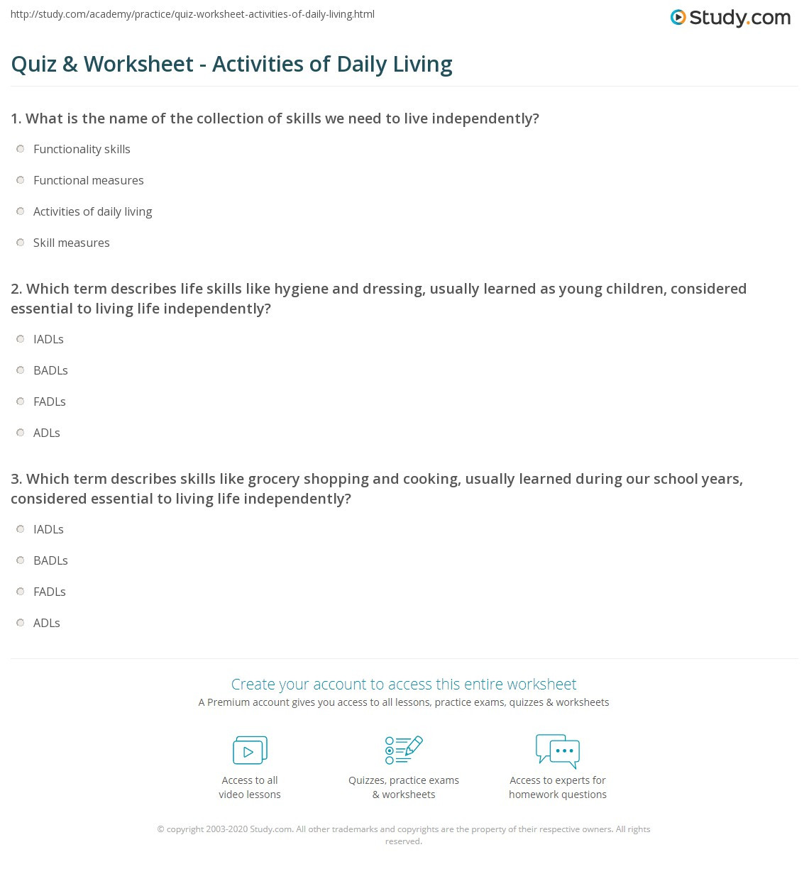 Daily Living Skills Worksheets Quiz & Worksheet Activities Of Daily Living