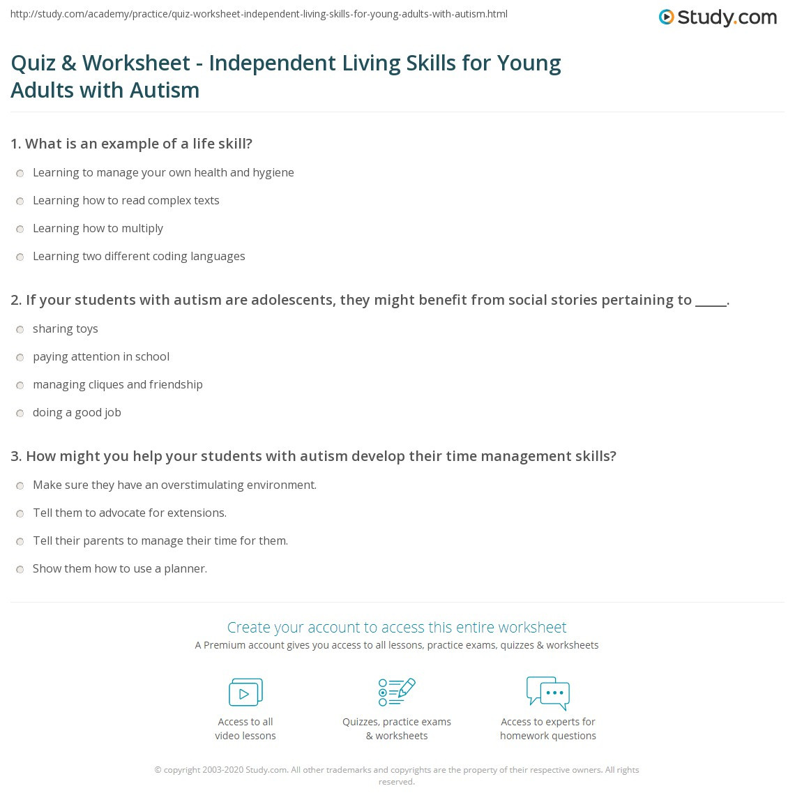 Daily Living Skills Worksheets Quiz & Worksheet Independent Living Skills for Young