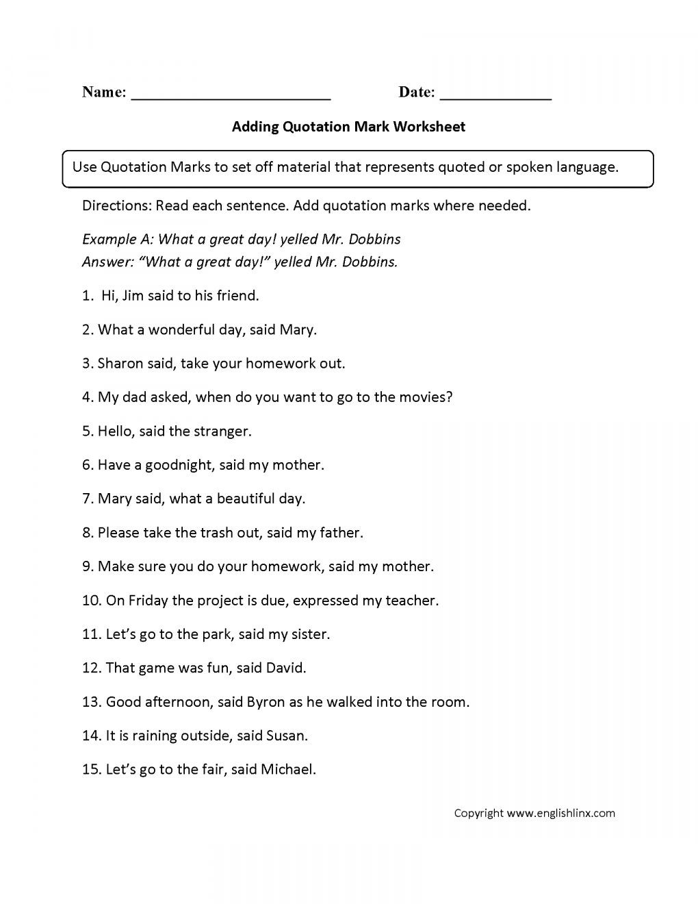 Dialogue Worksheets 4th Grade 11 4th Grade Quotation Marks Worksheet